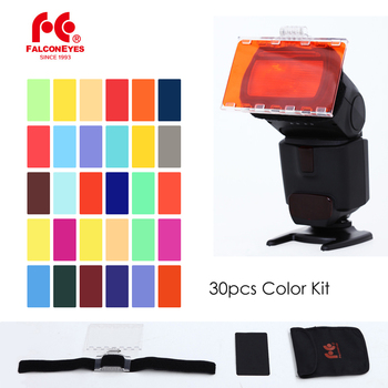 FalconEyes CFA-30K Flash Speedlite 30 Colors Color Gel Kit with Barndoor & Reflector & Bag for Canon Nikon YONGNUO GODOX image