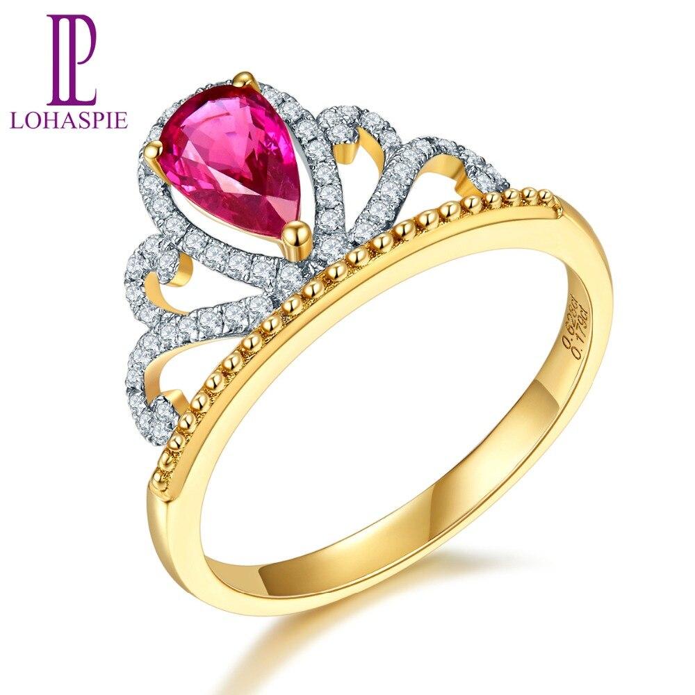 Lohaspie 0.62ct натуральный драгоценный рубин и алмаз SOLID 18 К желтого золота Обручение обручальное кольцо с бриллиантом-украшения для Для женщин п...