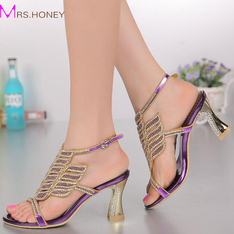 Aliexpress Buy Purple Rhinestone High Heeled Sandals Women Diamond Shoes Female Open Toe