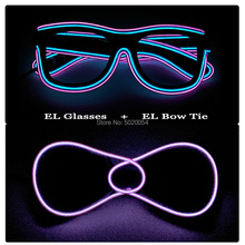 Novelty Costume Props Lighting LED Glasses EL Wire Bow Tie Set For Men Neon Glowing EL Glasses Neckties For Dance Show Decor