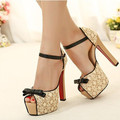 2016 new fashion Women shoes high square heel platform bow pump shoes big size lace Women sandals pumps summer 101