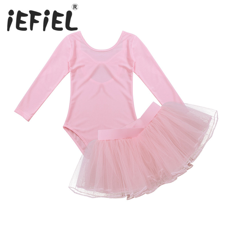 Long Sleeve Kids Children Girls Ballet Leotard Tutu Ballet Dress with Tutu Skirt for Ballet Class Dancewear Stage Performance
