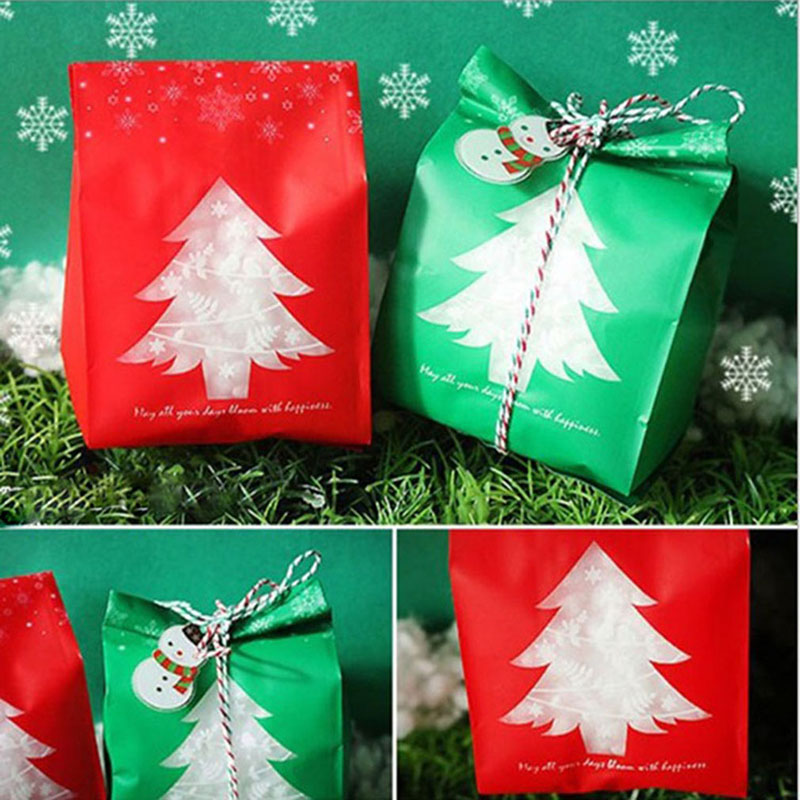 50pcs/pack New Year Christmas Gift Bags For Biscuits Snack ...