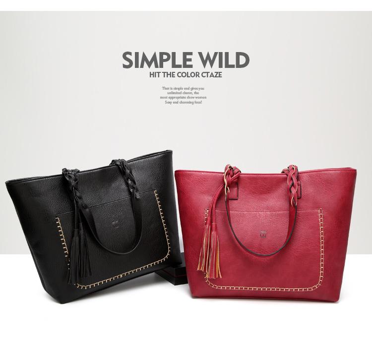 Tinkin  Vintage PU Tassel Women Shoulder Bag Female Retro Daily Causal Totes Lady Elegant Shopping Handbag 4