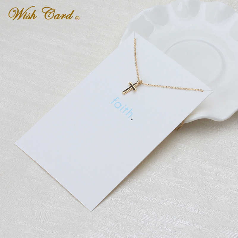 Wish Card Gold Cross Pendant Choker Necklace for Women Best Friendship Gift Wish Card Collares Jewelry Adjustable Chain EY3481