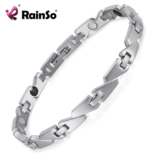 Rainso Women's Stainless Steel Silver Polished Magnetic Therapy Bio Bracelets Bangles Blood Pressure For Women OSB-1547S