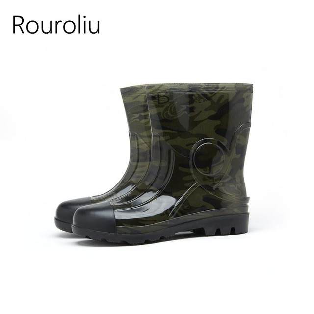 cae1b83eaee4 Rouroliu Men Camouflage Rain Boots Autumn Winter Mid-Calf Male Rainboots  Waterproof Safety Working Shoes Wellies TR28