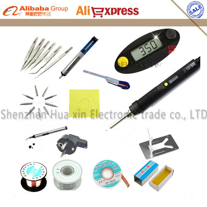 Professional repair welding tool Adjustable LCD Digital Electric soldering iron tools set Soldering station kit set EU plug 220V 147 pcs portable professional watch repair tool kit set solid hammer spring bar remover watchmaker tools watch adjustment