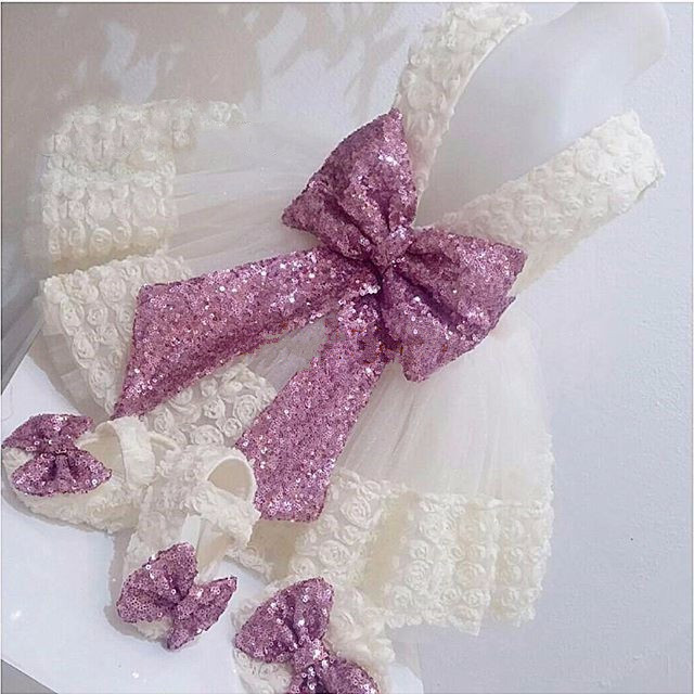 Cute White/ivory lace 3D flowers baby girls 1 year birthday gown flower girl dresses ball gowns with sequined bow