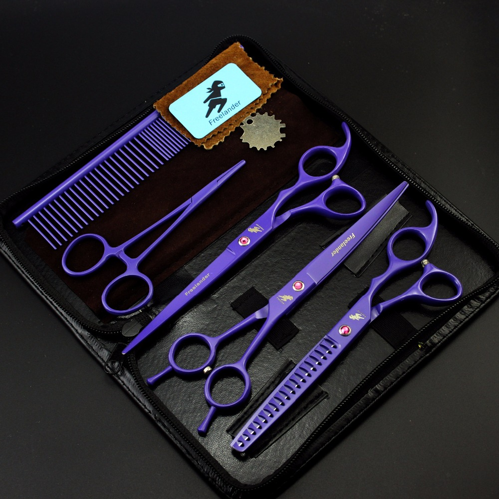 Purple Pet scissors sets,Straight & Thinning & Curved Scissor,3pcs /set,Free shippingPurple Pet scissors sets,Straight & Thinning & Curved Scissor,3pcs /set,Free shipping