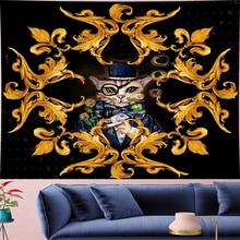 Court style retro Deconstruction smoking Cat Tapestry hippies painting macrame flower Wall Hanging Yoga Mat home decor GN.PAPAYA