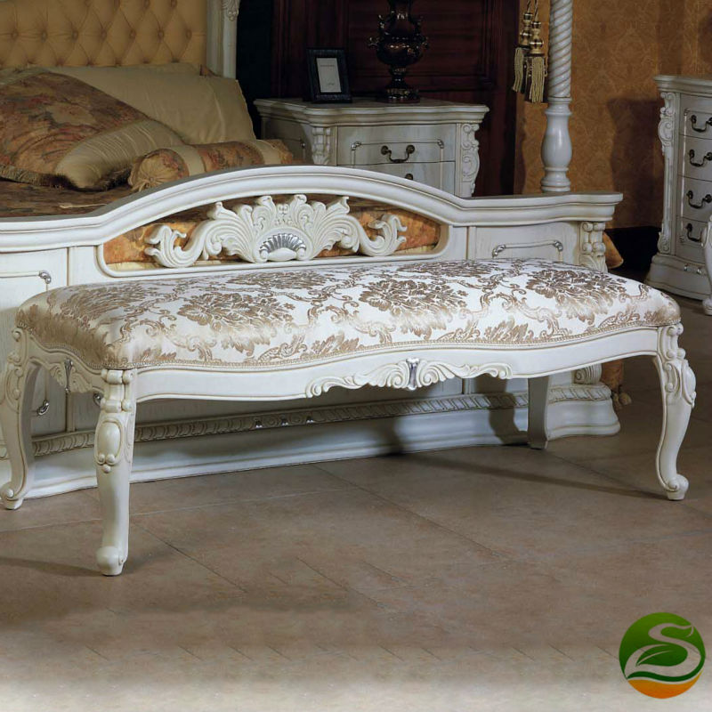 European and American classical style, solid wood bed stool, solid wood carved bed stool enhanced version of european style metal bed iron bed double bed pastoral style student bed 1 5 meters 1 8 meters