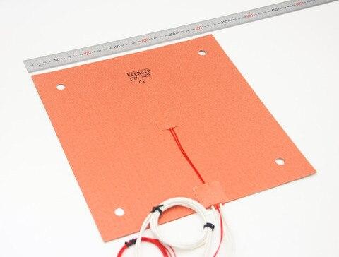 Aquecedor de Silicone 310x310mm para Creality W e furos para Parafusos Keenovo Pad Cr 10 Impressora 3d Bed Adesivo & Sensor