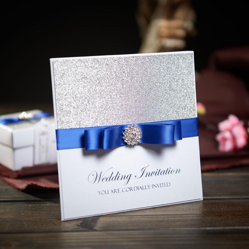 ed9e279c0 Invitaciones De Boda Con Tarjeta de Bolsillo tradicional Personalizada Cinta  Azul Baby Shower Fiesta de Cumpleaños de Compromiso Matrimonial NK741 en Y  ...