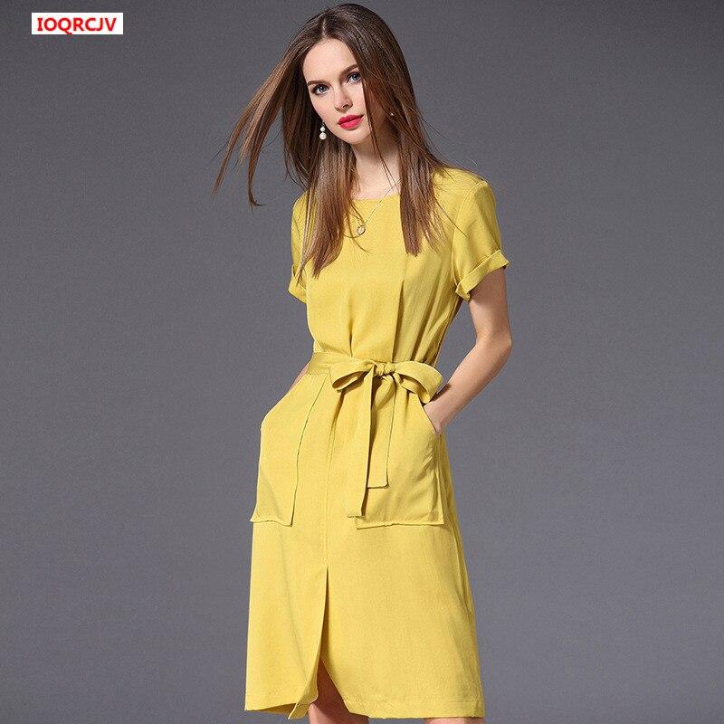 fd295435107 Coton Poches Courtes Ceintures D été Manches De Bureau Femmes Yellow W455  Dame 2019 Pour Taille Robes Robe Jaune Grande Droite YPOOx6