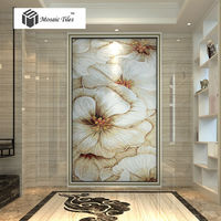 Customized Golden white glass mosaic wallpaper tile Home decor damask pattern