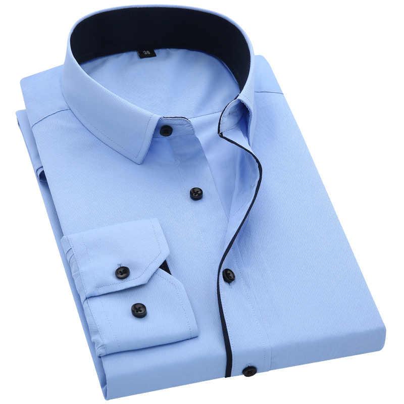 新しい到着メンズターンダウン襟正式なシャツ男性長袖スリムフィットカジュアルシャツメンズソリッドカラー/チェック柄ドレスシャツ