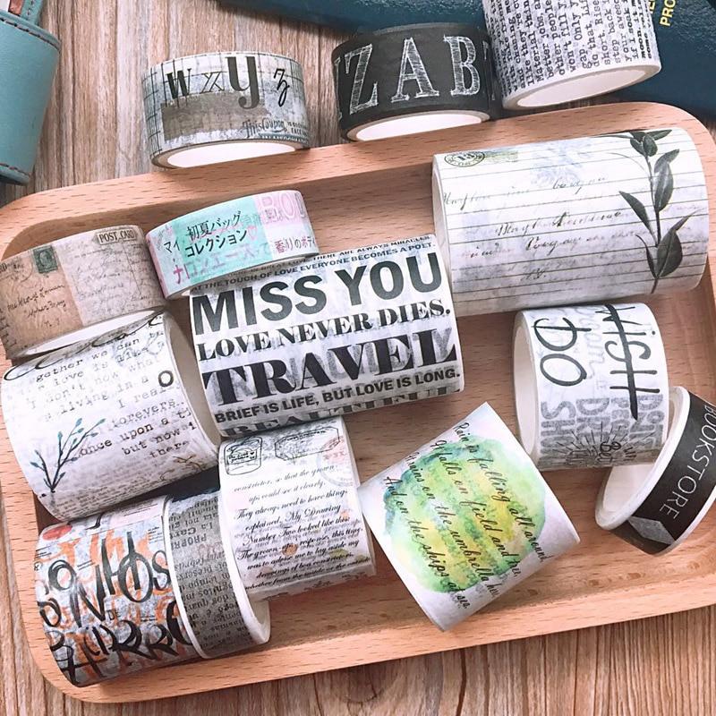 English Magazine Letters Washi Tape DIY Scrapbooking Sticker Label Masking Tape School Office Supply Gift Stationery