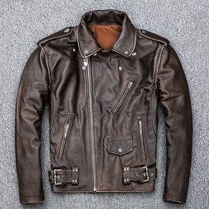 Image 4 - MAPLESTEED Brown Distressed Giacca Moto Da Uomo 100% Pelle di Vitello Classico Sottile Giacca di Pelle Uomo Moto Biker Cappotto di Inverno 5XL M190