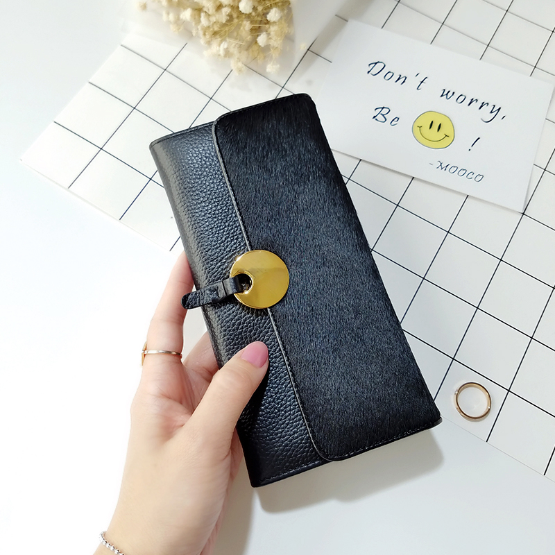 Lydian New Genuine Leather Wallets Europe Long Women Wallet Fur Purse Horse Hair Winter Luxury Brand Clutch Bag Famous Designer