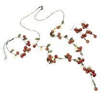 Women Fashion Red Acrylic Cherry Long Necklace Earrings Bracelet Jewelry Set