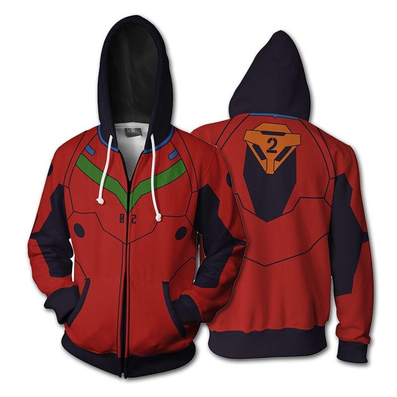 Anime Neon Genesis Evangelion EVA 3D Hoodie Asuka Langley Soryu Ayanami Rei Cosplay Zipper Jacket Unisex Sweatshirts Coat Hooded