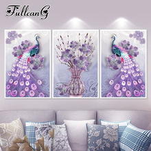 FULLCANG diy 5d diamond painting purple peacock triptych mosaic cross stitch embroidery kits full square drill G381