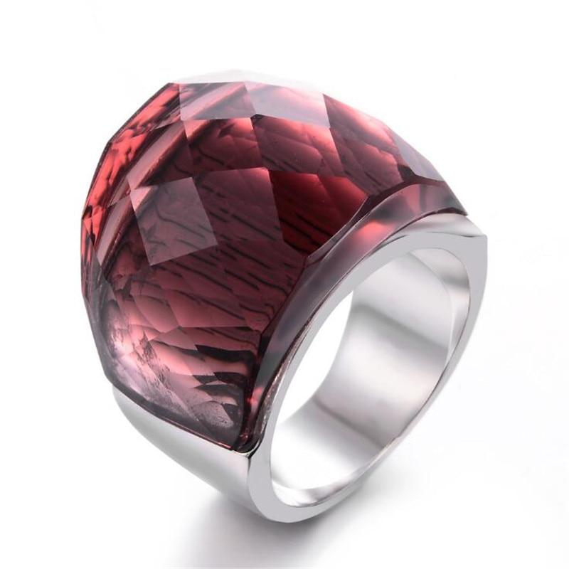 Big-Rings Jewelry Glass-Stone Elegant Women Fashion Wedding for Pink Personality