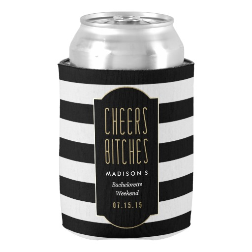 Vintage Cheers Bachelorette Can Cooler Couple Neoprene Romantic Gifts Drink Insulator Customized Beverage Can Cooler Holders