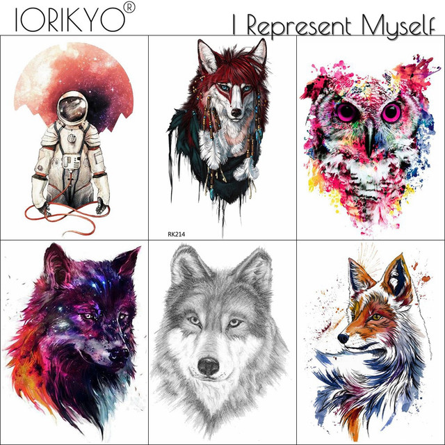 131456150 IORIKYO Flash Tribal Fox Temporary Tattoo Pencil Sketch Wolf Fake Tatoo Men  Women Body Art Fox Water Transfer Tattoo Arm Sticker