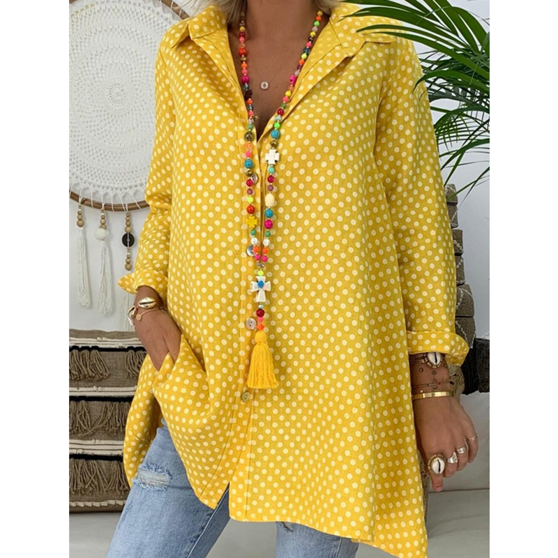 New Women Boho Dot Long Blouses Summer Long Sleeve Loose Blouses Lady Fashion Casual Blouse Shirts Top Blusas Mujer De Moda 2019