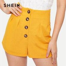 cae9707313 SHEIN elegante botón pantalones cortos de cintura alta de las mujeres 2019  verano sólido pantalones cortos