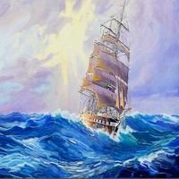 Free Shipping 3D Stereo Wallpaper Sea Sailboat Painting TV Wall Custom Wallpaper Lobby Studio Living Room