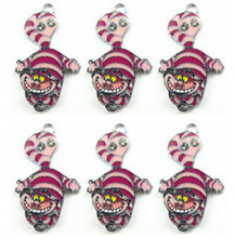 NEW 50 Pcs Alice In Wonderland Cat Enamel Metal Charm Necklace Key Chain pendant DIY Jewelry Making A12(China)
