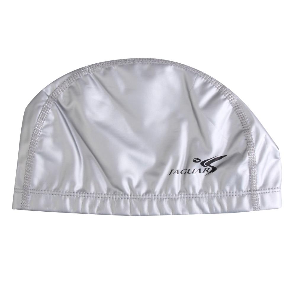 5 PCS JAGUAR New Adult PU Coating Waterproof Nylon Swim Cap Swimming Hat Lightweight (Silver)