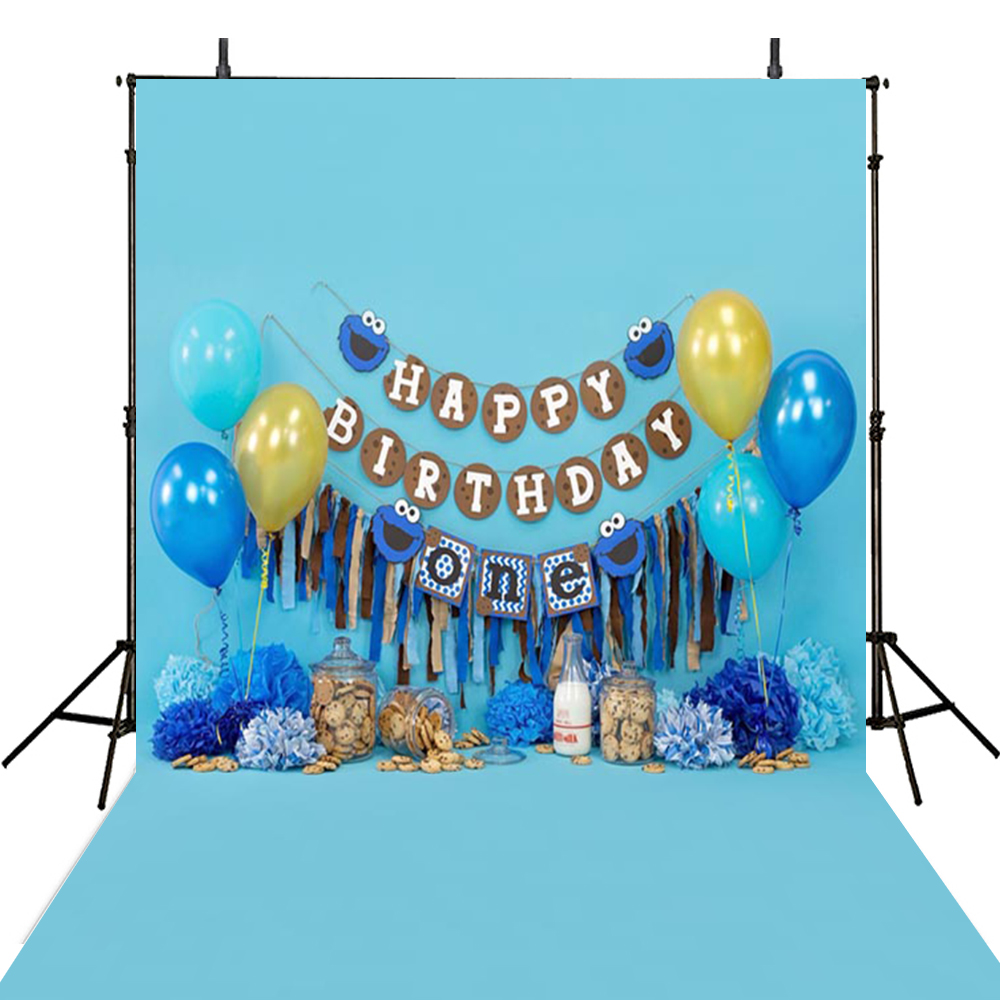 Hot Photography Backdrops Blue Boys Backdrop For Photography Happy Birthday Background For Photo Studio Foto Achtergron стоимость