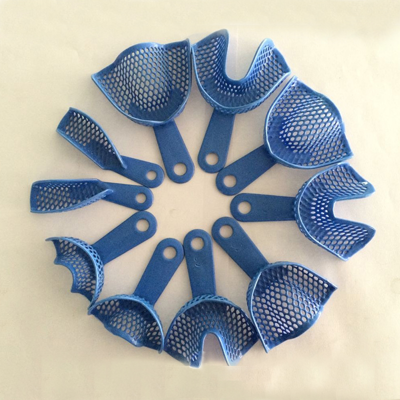 10 pcs/pack Plastic-Steel Dental Impression Trays Denture Model Materials Dental Supply