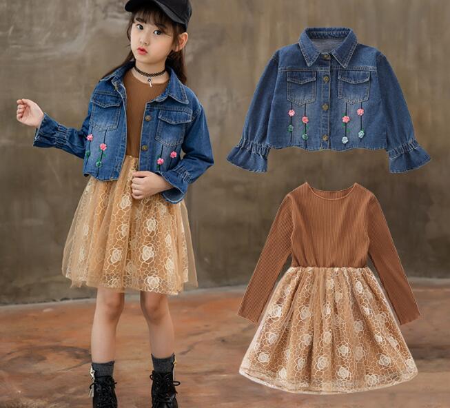 4c1bb6fe85c Clothes Sets For Girls Teenagers Autumn 2018 School 2pcs Kids Clothing Sets  Suits Denim Jackets + Long Sleeve Lace Dress Costume - aliexpress.com -  imall. ...