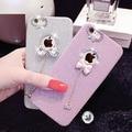 Moda de luxo 3D Bonito Bling Macio TPU Glitter Diamante Rhinestone Bowknot pingente caso capa para iphone 7 6 6 s plus 5 5S SE