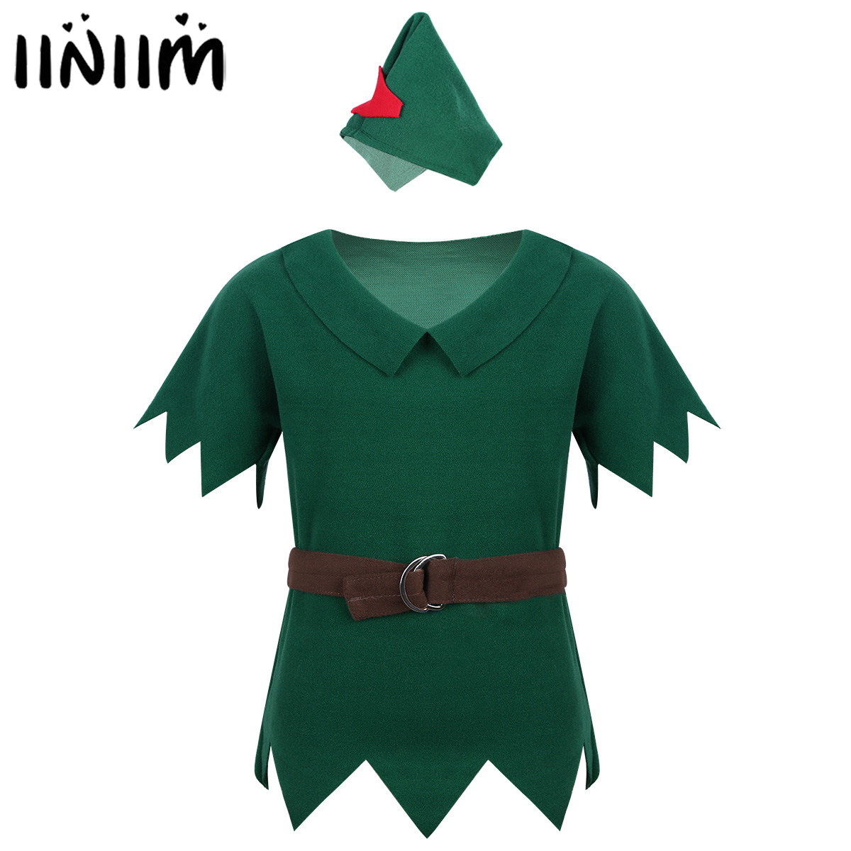New Arrival Kids Boys Peter Pan Costumes T-shirt with Hat Belt Halloween Cosplay Party Boy for Fancy Carnival Role Play Clothing