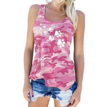 Camo Paw Print Racerback T-Shirt