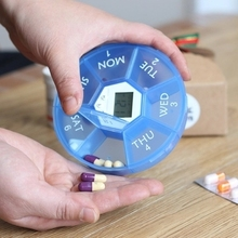 Digital Electronics Smart Timing Pill Cases Medicine Box Container Tablet Storage Case Circular Reminder Alarm 7 Days