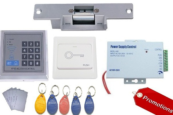 RFID 125Khz EM ID Keypad Electric Strike Lock Door Access Control System full Kit with RFID keyfob digital electric best rfid hotel electronic door lock for flat apartment