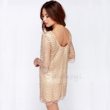 Hot New Sexy Dress fashion women O-neck hollow short sleeve gold wave sequined dress with lining ladies evening party club dress
