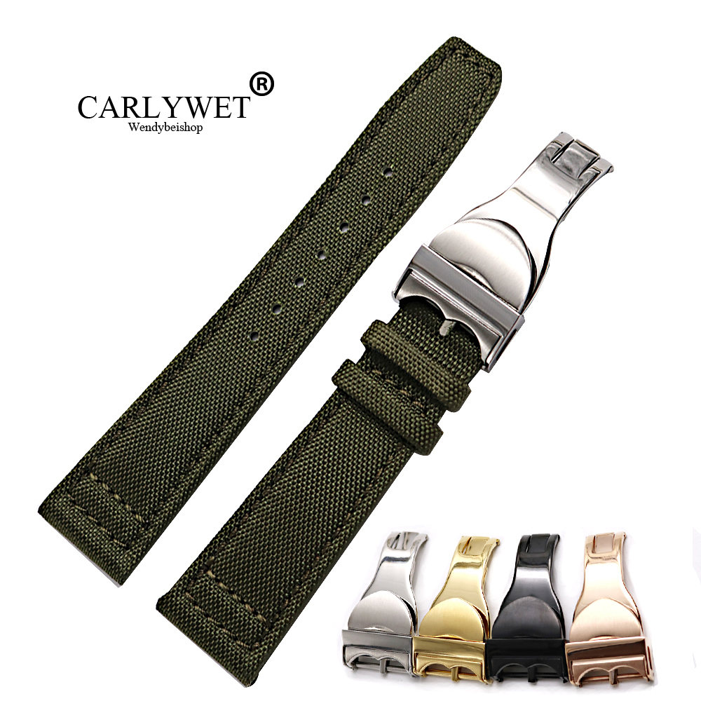 CARLYWET 20 21 22mm Nylon Fabric Leather Replacement Wrist Watch Band Loops Strap Deployment Clasp For Tudor Omega IWC Rolex