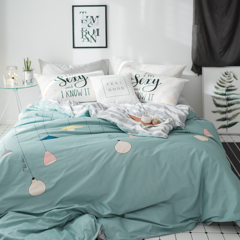 Papa Mima Modern style bedding set Electric light print Cotton Queen King size duvet cover flat