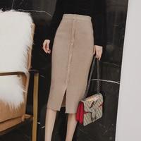 [MENKAY] Autumn And Winter Medium Long Knit Skirts Female High Waist Was Thin Black Tight Single-breasted Base Skirt