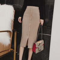 MENKAY Autumn And Winter Medium Long Knit Skirts Female High Waist Was Thin Black Tight