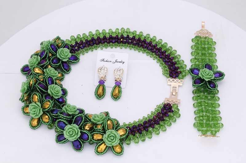 Dudo Đồ Trang Sức Màu Đen & Màu Tím Trang Sức Set Phi Với Màu Đỏ và Màu Vàng Hoa Phụ Nữ Cưới Bộ Đồ Trang Sức Miễn Phí Vận Chuyển Nigeria bead
