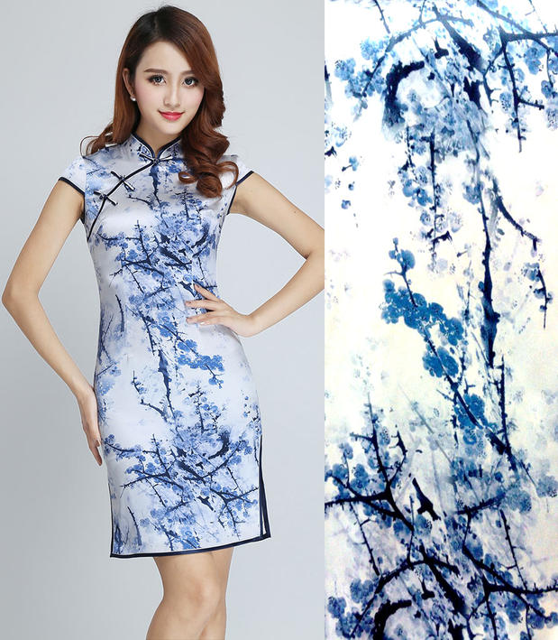 ̀ •́ Alta calidad azul ciruela flores impresiones tela 97% seda de ...